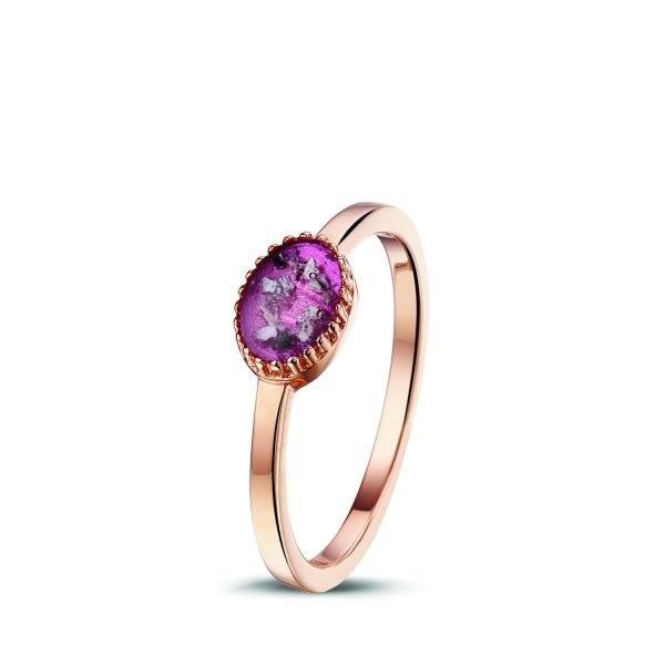 Rosegouden ring met paarse