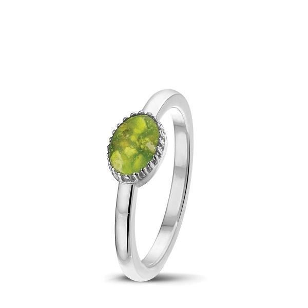 zilveren ring met groene steen