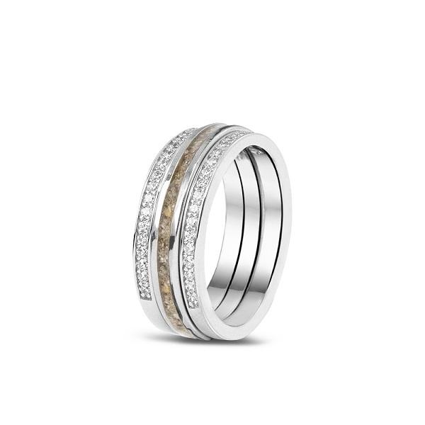 Zilveren ring met as en zirkonia aanschuifringen